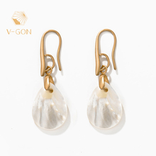 V-GON Fashion Elegant Gold Shell Girl Dangle Earrings for Women Geometric Boho Earring Wedding Statement Jewelry V-DE0038