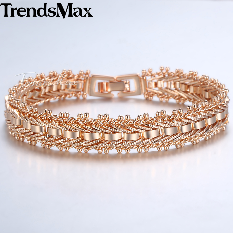 Bracelet & Bracelet Pour Les Femmes 585 Or Rose Bijoux En Or Mode Femme Bracelet Femme Amie Cadeaux 11mm 19 cm KGB430