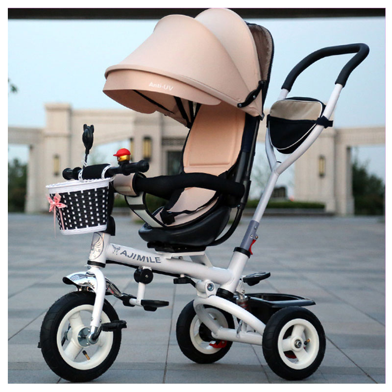 Swivel Seat Tricycle Stroller Steel Baby Toddler Child Rotating Seat Tricycle Bike Buggy Bicycle with Umbrella Removable Wash brand quality portable baby tricycle bike children tricycle stroller bicycle swivel baby carriage seat detachable umbrella pram