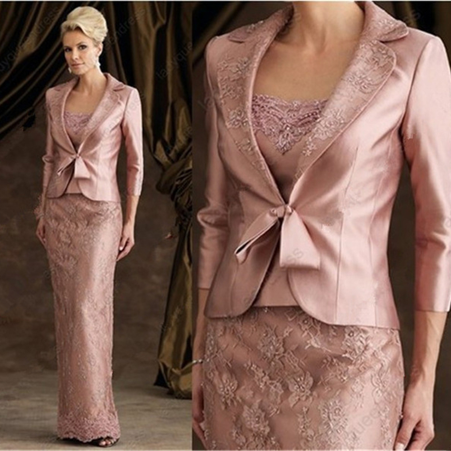 Vintage Elegent Sheath Floor-Length Pink Lace Satin Long Sleeve Mother Of The Bride Dresses With Jacket Mother Of The Groom