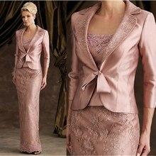 Vintage Elegent Sheath Floor-Length Pink Lace Satin Long Sleeve Mother Of The