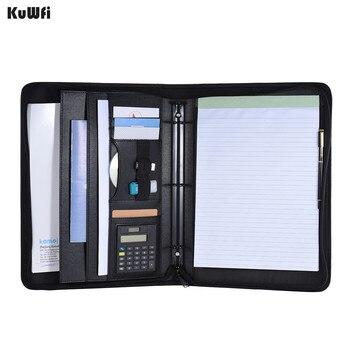 Bolso calculadora com carteira multifuncional padfolio pasta documento caso organizador a4 plutônio couro fecho com zíper