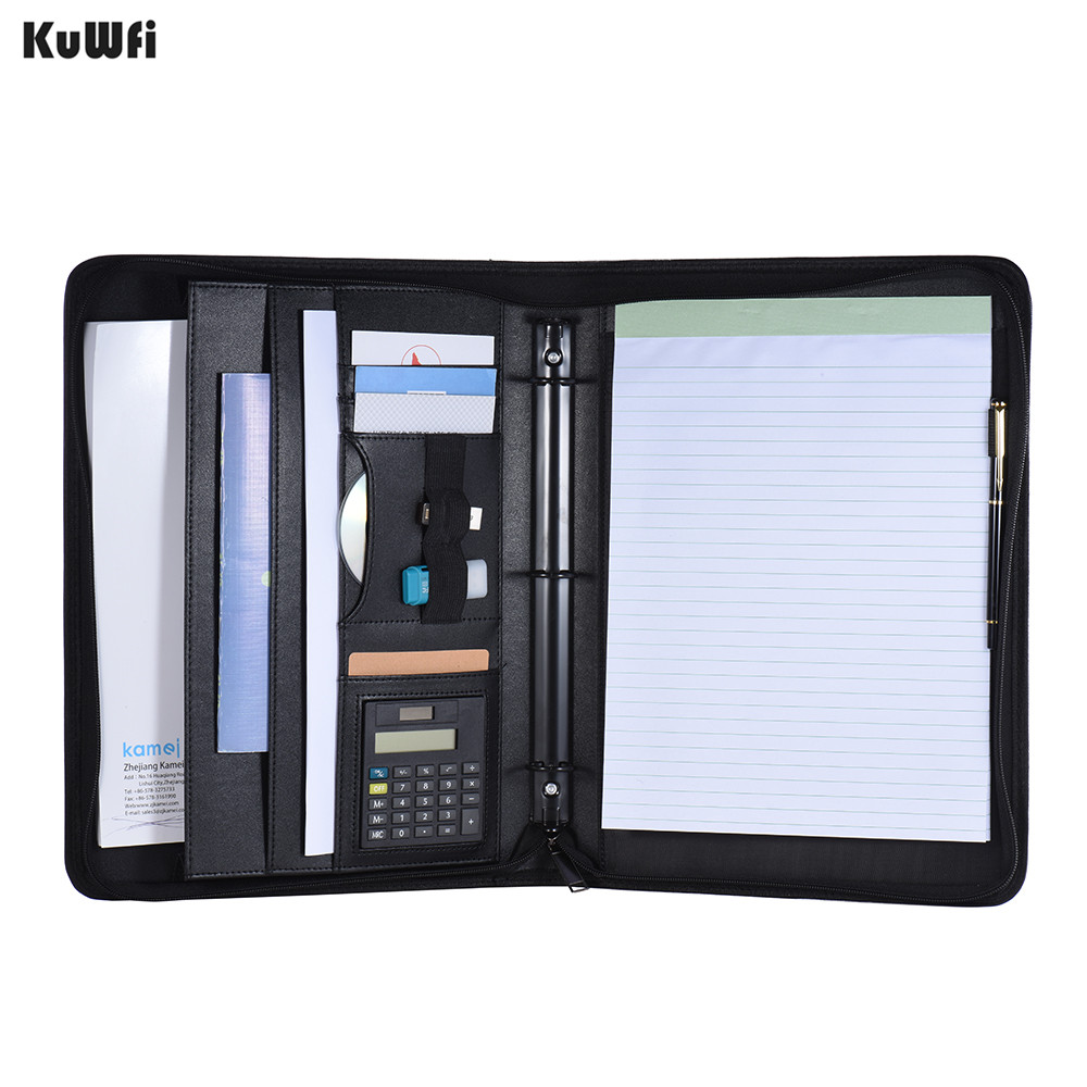 Pocket Calculator With Multifunctional Portfolio Padfolio Folder Document Case Organizer A4 PU Leather Zippered Closure(China)