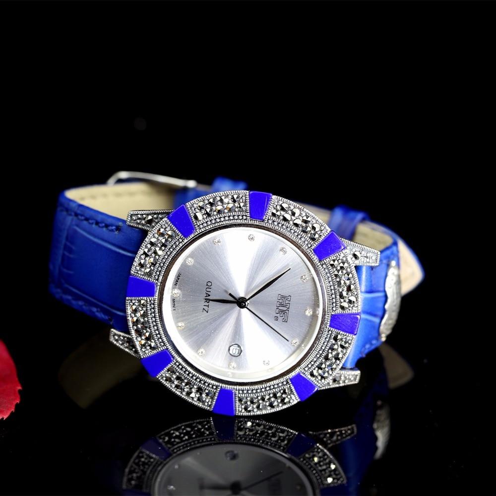 Высокое качество ВЧ бренд мужской серебряный браслет кожаные часы настоящие серебряные часы чистый серебряный жемчужный браслет часы Наст