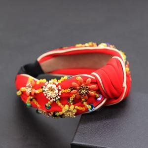 Image 2 - Bohemian fashion flowers wrapped personality dance headband Colorful crystal flower geometric metal versatile headband 865