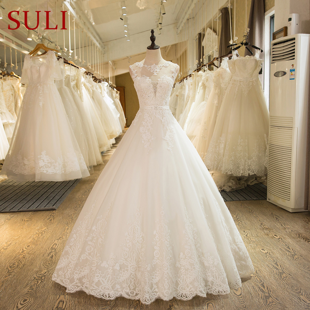 SL-1 New Arrival A-Line Ärmlös Tulle Lace Appliques Vintage Bröllopsklänning Boho