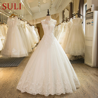SL 1 New Arrival A Line Sleeveless Tulle Lace Appliques 2016 Wedding Dress