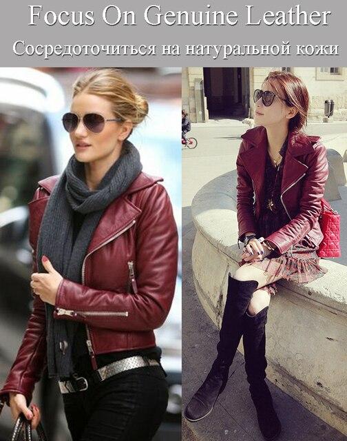 Factory Women Genuine Sheepskin Leather Jacket Brand Design Star