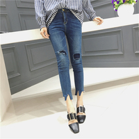 2017 Spring White Ripped Skinny Ankle Pants Women Vintage Trousers Button Fly Mid Waist Pockets Cropped
