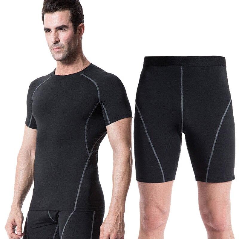Для мужчин сжатия рубашка База Слои короткий рукав футболки эластичность Колготки для новорождённых Шорты для женщин комплект ММА Rashguard Фи...