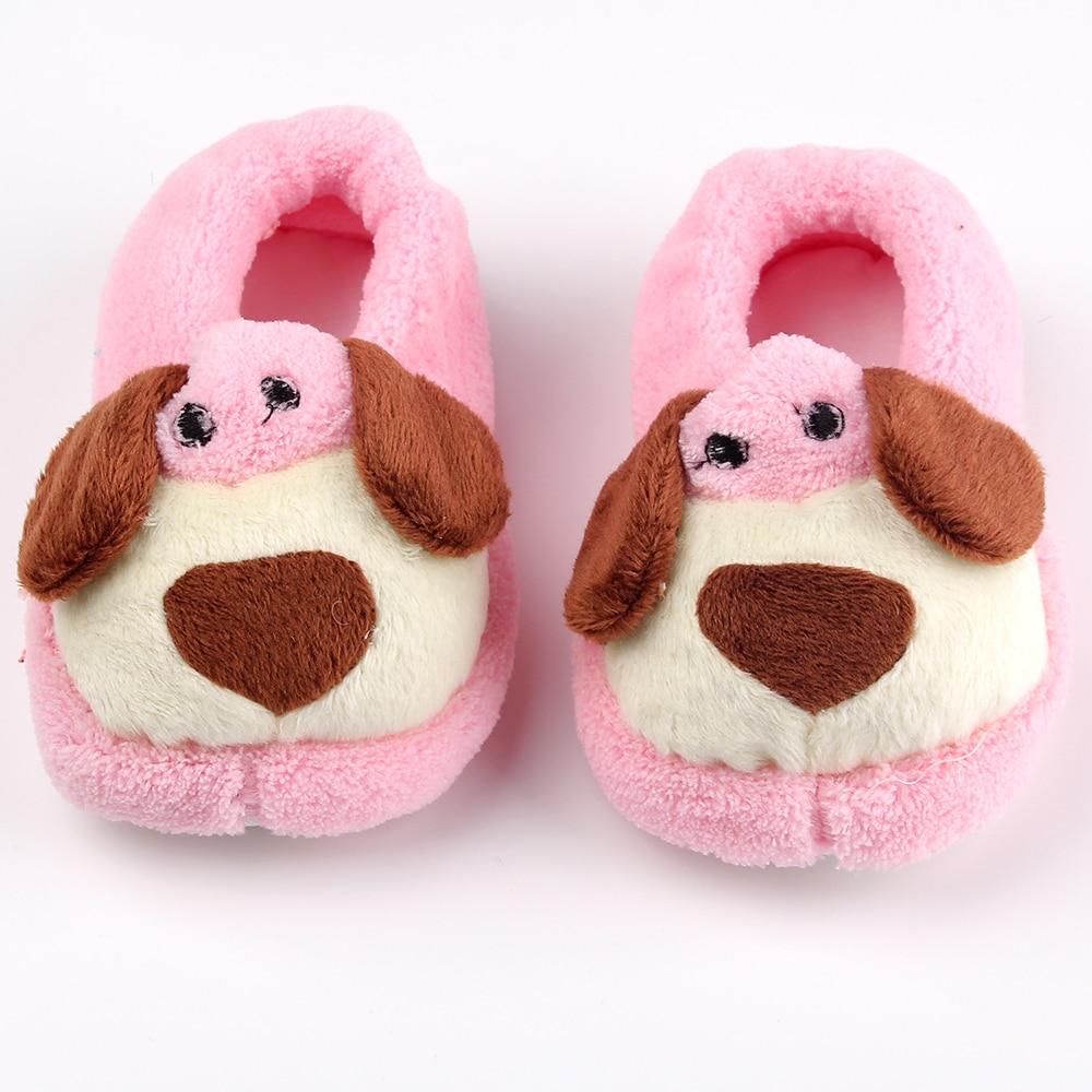 Милая собака детская обувь коралловый принт зимние теплые первые ходоки хлопковые нескользящие мальчик обувь для девочек младенческой мяг... ...
