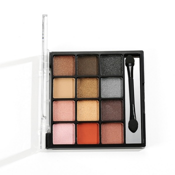 12 Colors Pallete Glitter Powder Eye Shadow Earth Shadows Brush Set Stamp Pigment Eye Makeup Eyeshadow Palette Colorful