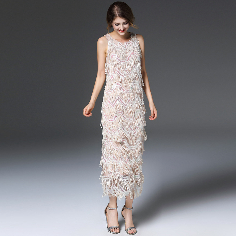 High End Long Dress Women Sequined Tassel Vintage Design