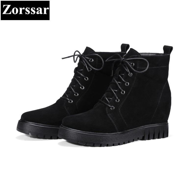 {Zorssar} 2017 NEW winter warm fur Womens snow Boots cow suede platform Height Increasing ankle Boots fashion women Martin shoes zorssar 2017 new classic winter plush women boots suede ankle snow boots female warm fur women shoes wedges platform boots