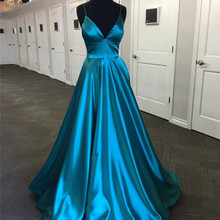 Mbcullyd Elastic Satin Prom Dresses 2019 Sexy V-neck Backless Ladies Formal  Dress Party Gowns 029dde70e0fe