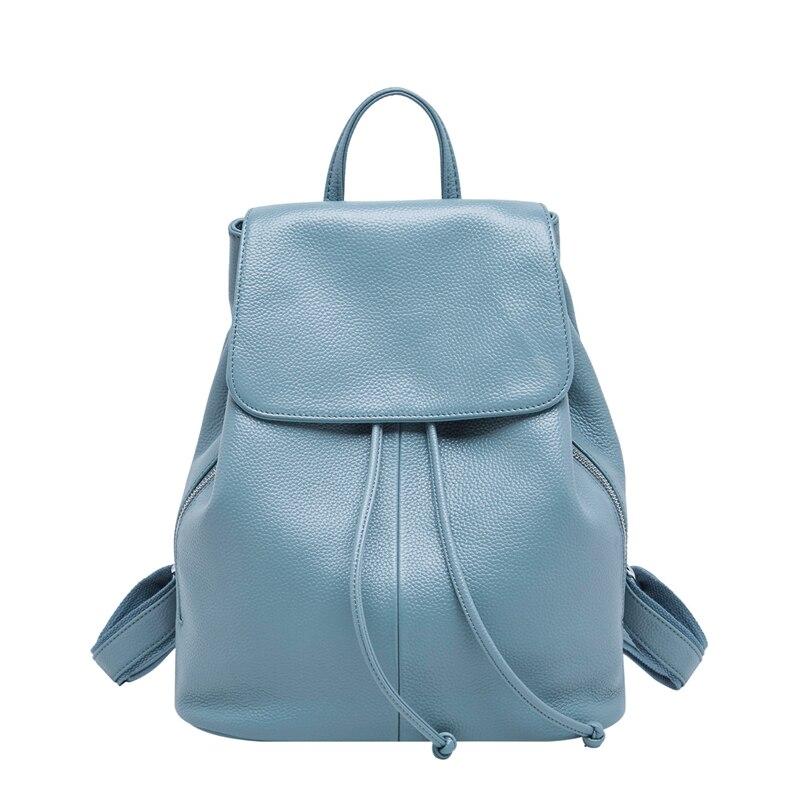 Mode Sac à Dos en cuir véritable femmes Sac A Dos sacs d'école pour les adolescentes noir/blanc Sac à main de voyage femme marque Mochila