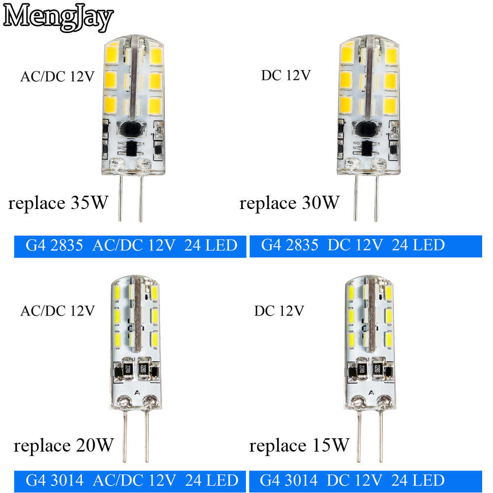 MengJay 2835/3014 SMD 3W 2W DC 12V/ACDC12V 35W 30W 20W 15W Replace Halogen Lamp g4 LED Corn Bulb Silicone Chandeliers