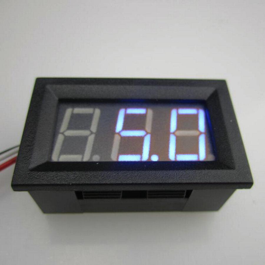 BLUE LED Display Color 0.56 Digital Voltmeter DC:0-100V Three wires 3 bit Voltage Panel  ...