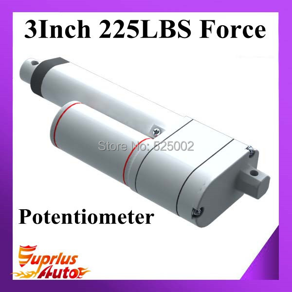 Free shipping 12volt 3inch/75mm stroke 225lbs load electric linear actuators with feedback & potentiometer
