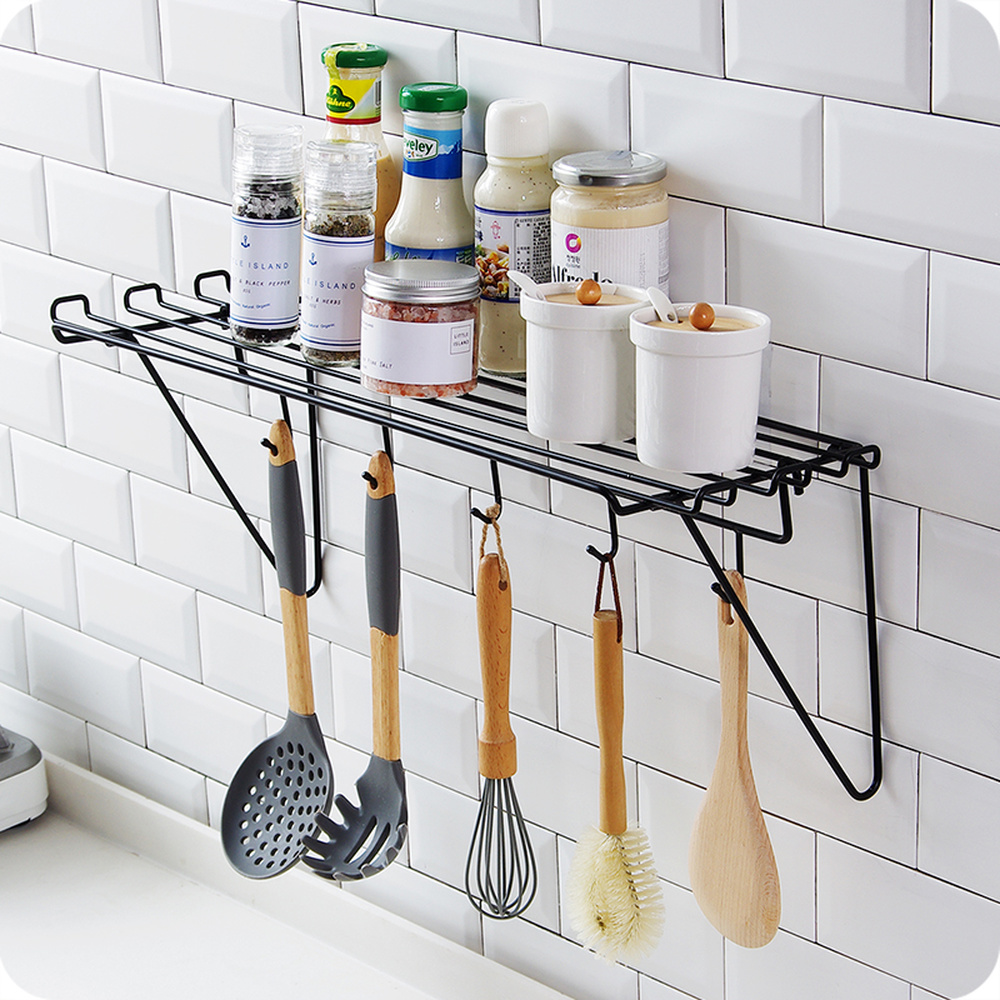 Iron Kitchen shelf wall hanging seasoning rack space saving tableware rack bathroom cosmetic storage rack with hook wx8111024