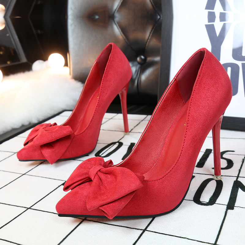 2017 New Women Plus Size Big Bow Tie Pumps Butterfly Pointed Stiletto Pointed Toe Woman Wedding High Heels Shoes Bowknot plus big size 34 52 shoes woman 2017 new arrival wedding ladies high heel fashion sweet dress pointed toe women pumps e 177