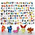 144 Unids/lote Pikachu Mini figuras PVC Miniaturas Modelos Nanoblocks 2-3 cm Mini figura Juego Zekrom Vaporeon Vulpix Vinilo figura Juguetes