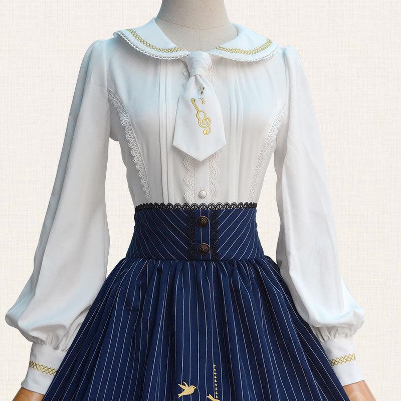 2019 Lolita Blouse Sweet White Long Sleeve Embroidered Women's Shirt - Women's Clothing - Photo 2
