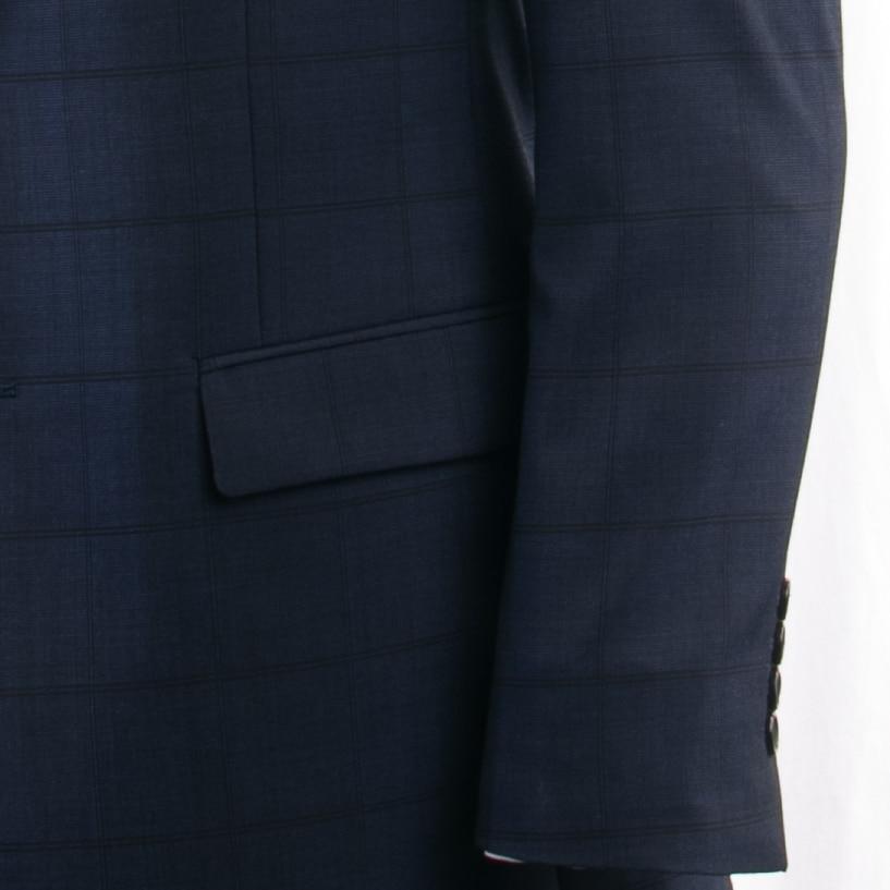 Smart Casual Navy Plaid Suit Custom Made Slim Fit Dark Blue Windowpane Suits With Nailhead Pattern, Subtle Plaid Wool Blend Suit