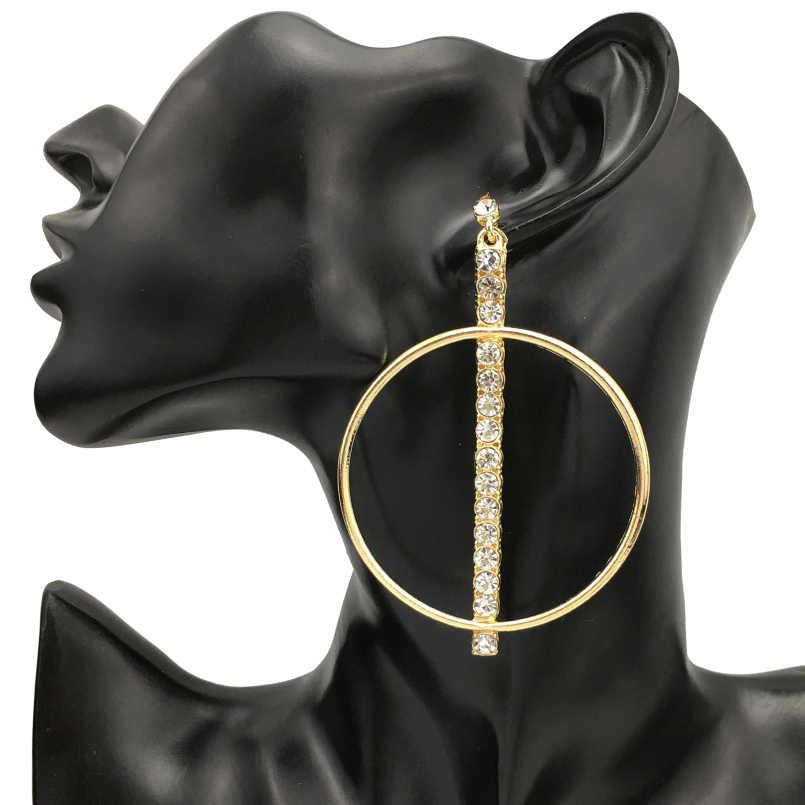 MANILAI الساخن دائرة سبيكة كبيرة استرخى إسقاط أقراط الراين مجوهرات الأزياء أقراط النساء حفل زفاف هدية ZA أقراط