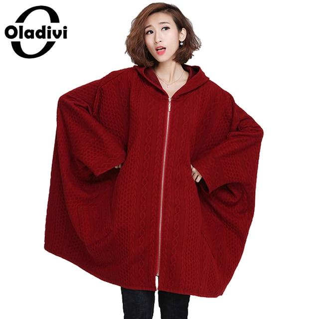 Oladivi Plus Size Women Clothing 10XL Long Batwing Sleeve Hooded Coat Big  Size Cotton Padded Shirt