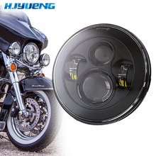 цена на 7 Inch Motorcycle Projector for Land Rover Defender 90 Angel Eyes DRL Running Lights Hi/Lo LED Headlight For Harley Hummer H1&H2