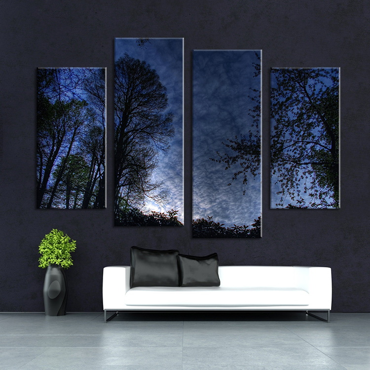 4 Panel Nature Tree View Landscape Wall Painting Print On Canvas For Home Decor Ideas Paints