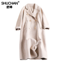 Shuchan Long Sheep Wool Coat Women Autumn Winter 2019 New Items Double Breasted Pockets Button Turn-down Collar Coats 8811