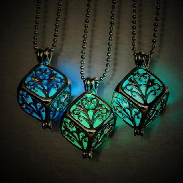 New Charm Hollow Box Cute Locket Glow In The Dark Pendant Necklace