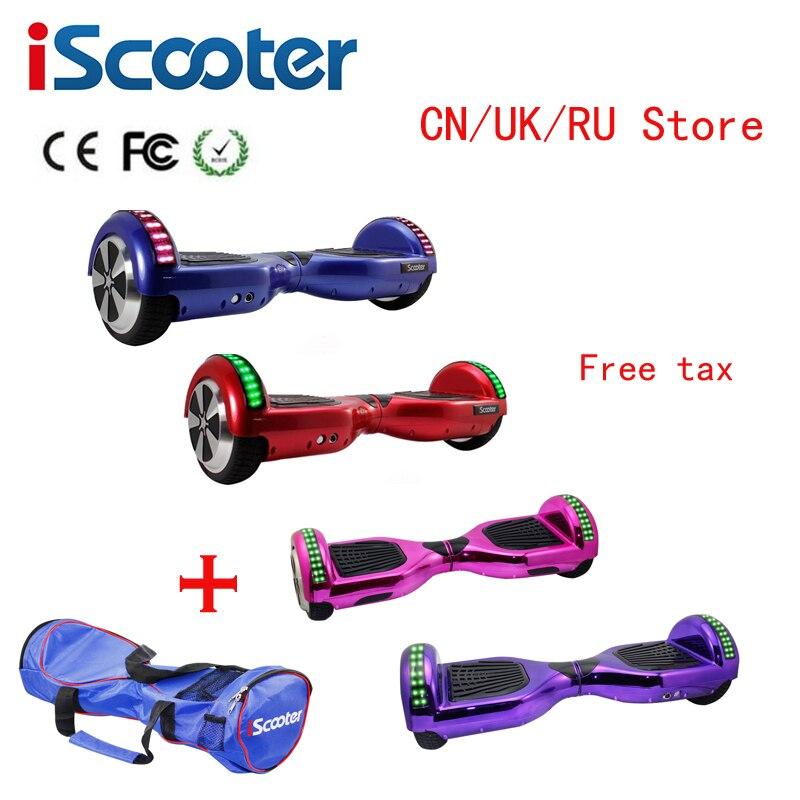 IScooter 6,5 zoll Hoverboards selbstausgleich elektroroller elektrisches skateboard über bord mini skywalker aufstehen hoverboards Keine Steuer