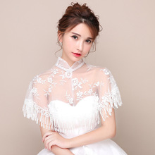 New European and American summer thin mobile dress cheongsam stand collar lace gauze cape tassel