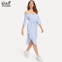 1bb702b10fb5 Dotfashion Open Shoulder Tie Waist Asymmetrical Hem Striped Dress Ladies  2018 Summer Spaghetti Strap Knee Length