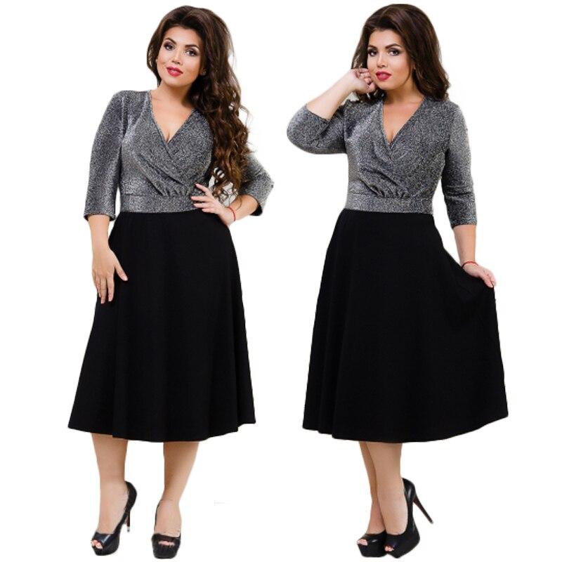 2017 Sexy Party Dress 5XL 6XL Metallic Knit Flare Black Summer Dress Plus Size Women Dress