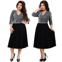 2018 Sexy Party Dress 5XL 6XL Metallic Knit Flare Black Summer Dress Plus Size Women Dress