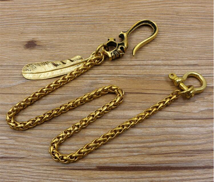 Men Jewelry Heavy Brass metal Waist Biker Wallet Key Chain Rock Punk Trousers Motorcyle HipHop Leather Pant Jean Chains Hot