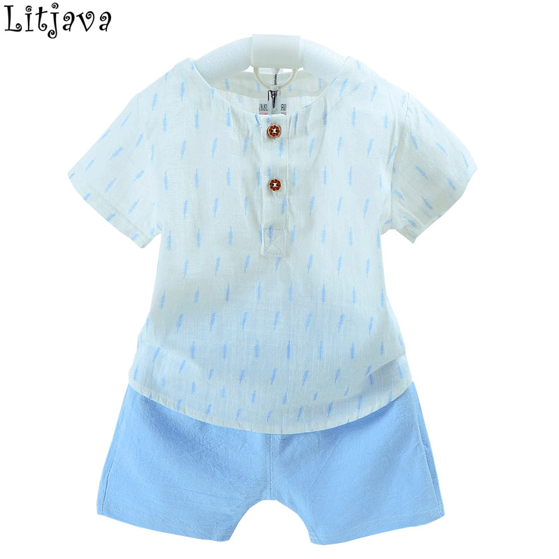 Summer Baby Boys Clothes Sets 2018 New Toddler Short Sleeves T-Shirt+ Pant 2Pcs Suits Children Clothing Handsome Kids Suits