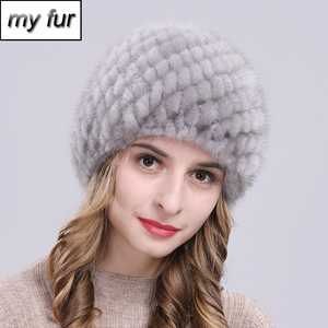 Image 1 - Russia New Winter Lady Natural Mink Fur Beanies Hat Knit Warm Striped Genuine Mink Fur Caps Women Good Elastic Real Mink Fur Hat