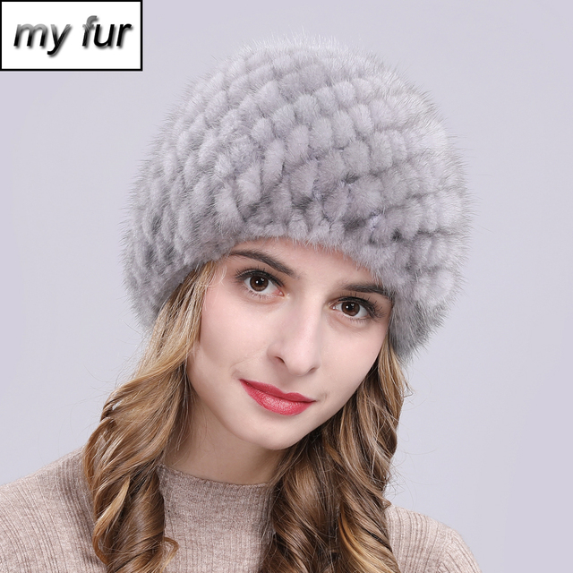 Russia New Winter Lady Natural Mink Fur Beanies Hat Knit Warm Striped Genuine Mink Fur Caps Women Good Elastic Real Mink Fur Hat