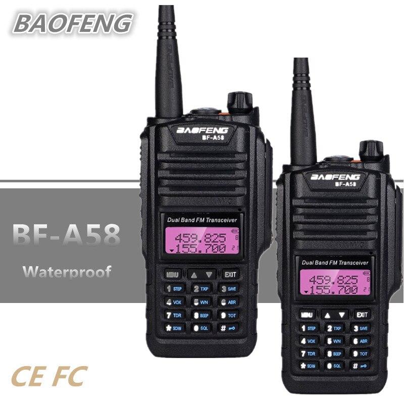 2 pcs BAOFENG BF-A58 Talkie Walkie Étanche UHF VHF cb Radio Amateur 10 km Long Range Walkie Talkie UV-9R PLUS HF Émetteur-Récepteur