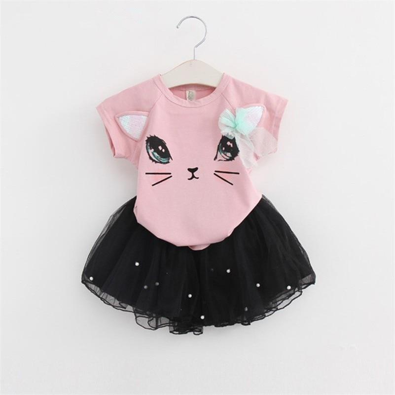 MBBGJOY Little Girls Short T-shirt+ Skirt Beaded Suit Cartoon Cat Summer Fashion 2-6T Girls Kids Sets Clothing Short-sleeved