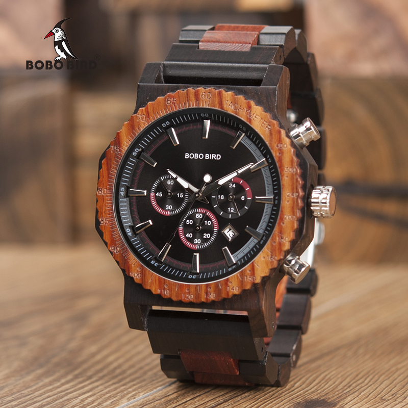 Big Size Wood Watch BOBO BIRD Men Fashion Luxury Wristwatch Timepiece Chronograph Date Display Relogio Masculino In Box L-R15
