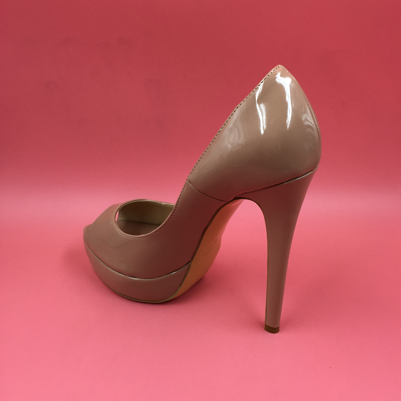 604a93a3ab4f Nude Real Photo Patent Leather Women Pumps Peep Toe Stilettos High Heels  Platform Shoes OL Pump. sku  32672984890