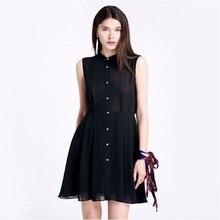 2018 Summer Stand Collar Sleeveless Back Pleated Shirt A-line Dress vestidos