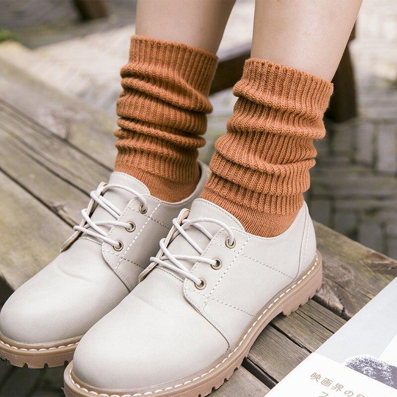 1Pair Womens Socks Fashion Casual Solid Color Long Socks For Women Meias Femininas Ladies Warm Socks Autumn Winter Calcetines