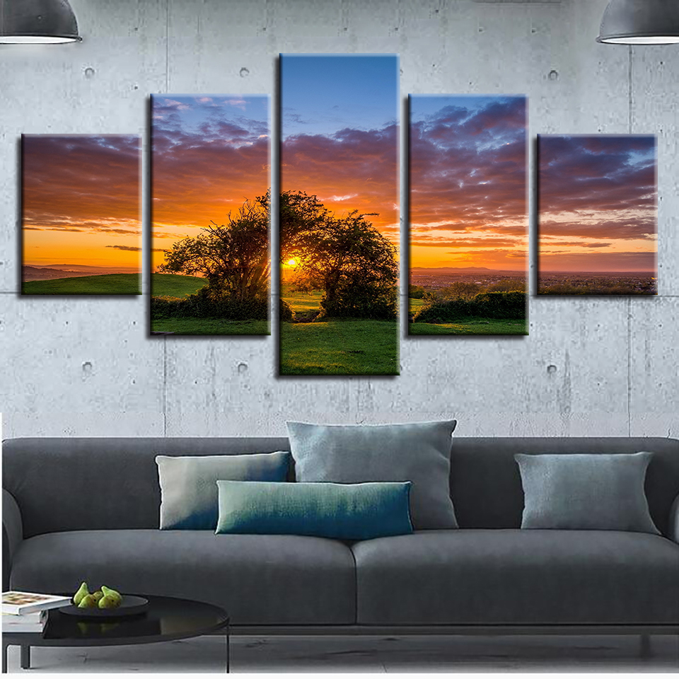 Hd Prints Home Decor Living Room 5 Pieces Tree Sunset